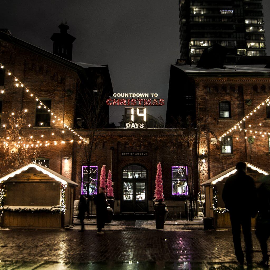 City of Angels in the Distillery District during the Christmas Market.