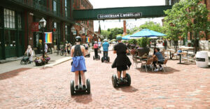 What does a Segway Tour look like? In the Distillery District, it's a gorgeous site while exploring the classic Victorian architecture.
